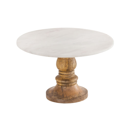 619533 Regency Cake Stand Medium Mango Wood, Natural Agate, White Marble