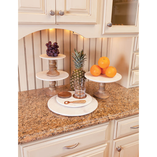 619540 Regency Cake Stand Large Mango Wood, Natural Agate, White Marble