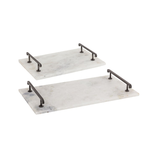 619748 Guardian Set of 2 Trays Natural, White Marble