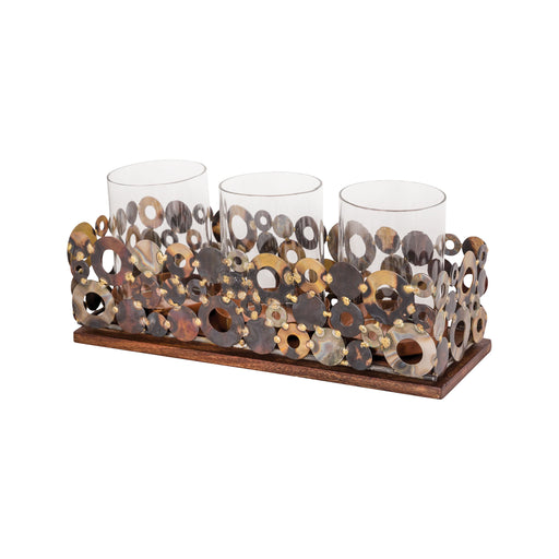 639388 Novell Votive Tray Mixed Metals, Clear