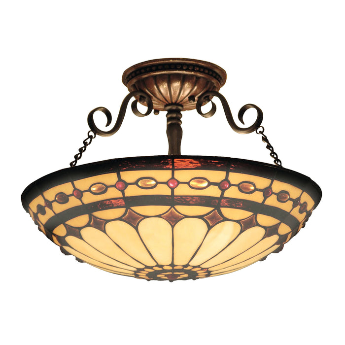 ELK Lighting 641-BC Diamond Ring 3 Light Semi-Flush In Burnished Copper Burnished Copper Free Parcel Delivery