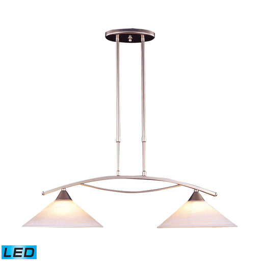 ELK Lighting 6501/2-LED 2 Light Island Light In Satin Nickel And Tea Swirl Glass Satin Nickel Free Parcel Delivery