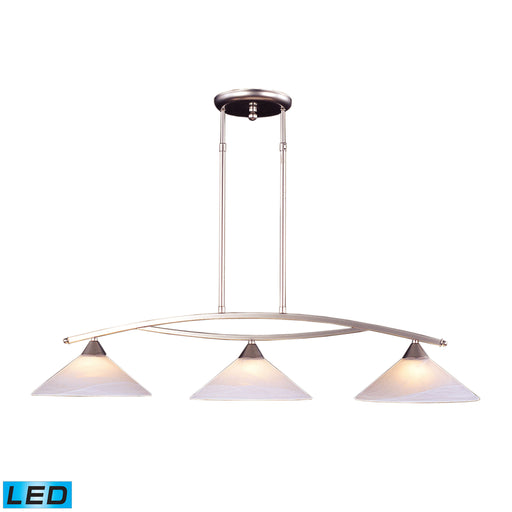 ELK Lighting 6502/3-LED 3 Light Island Light In Satin Nickel And Tea Swirl Glass Satin Nickel Free Parcel Delivery