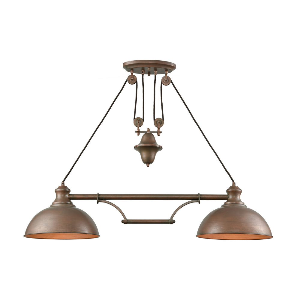 ELK Lighting 65272-2 Farmhouse 2 Light Pulldown Island Light In Tarnished Brass Tarnished Brass Free Parcel Delivery