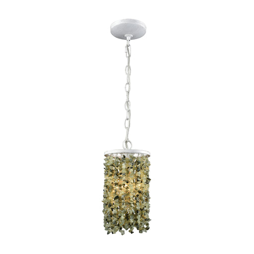 ELK Lighting 65325/1 Agate Stones 1 Light Pendant In Weathered Bronze With Light Jade Agate Stones Off-White Free Parcel Delivery