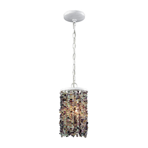 ELK Lighting 65340/1 Agate Stones 1 Light Pendant In Off White With Purple Agate Stones Off-White Free Parcel Delivery