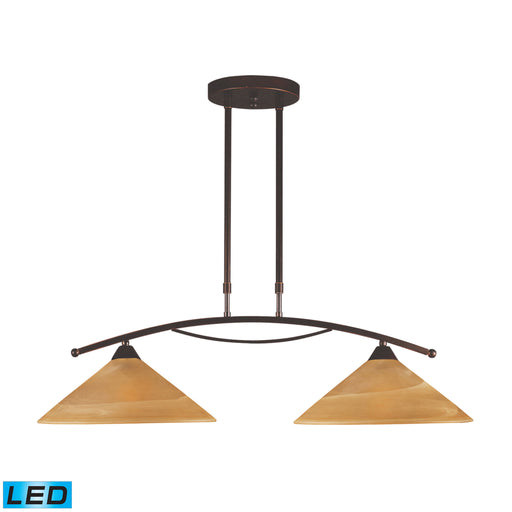 ELK Lighting 6551/2-LED 2 Light Island Light In Aged Bronze And Tea Swirl Glass Aged Bronze Free Parcel Delivery