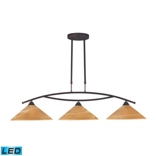 ELK Lighting 6552/3-LED 3 Light Island Light In Aged Bronze And Tea Swirl Glass Aged Bronze Free Parcel Delivery