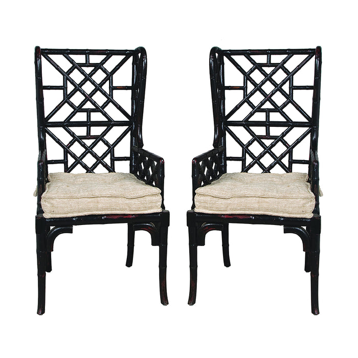 659522PWMLB Bamboo Wing Back Chair - Set Of 2 Black, Woodlands Molten Lava