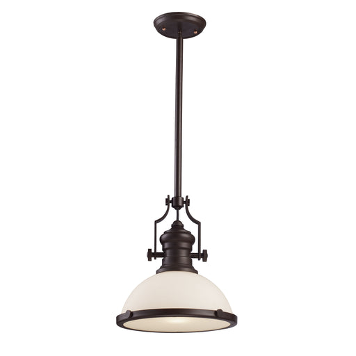 ELK Lighting 66633-1 Chadwick 1 Light Oiled Bronze With White Glass Pendant Oiled Bronze Free Parcel Delivery