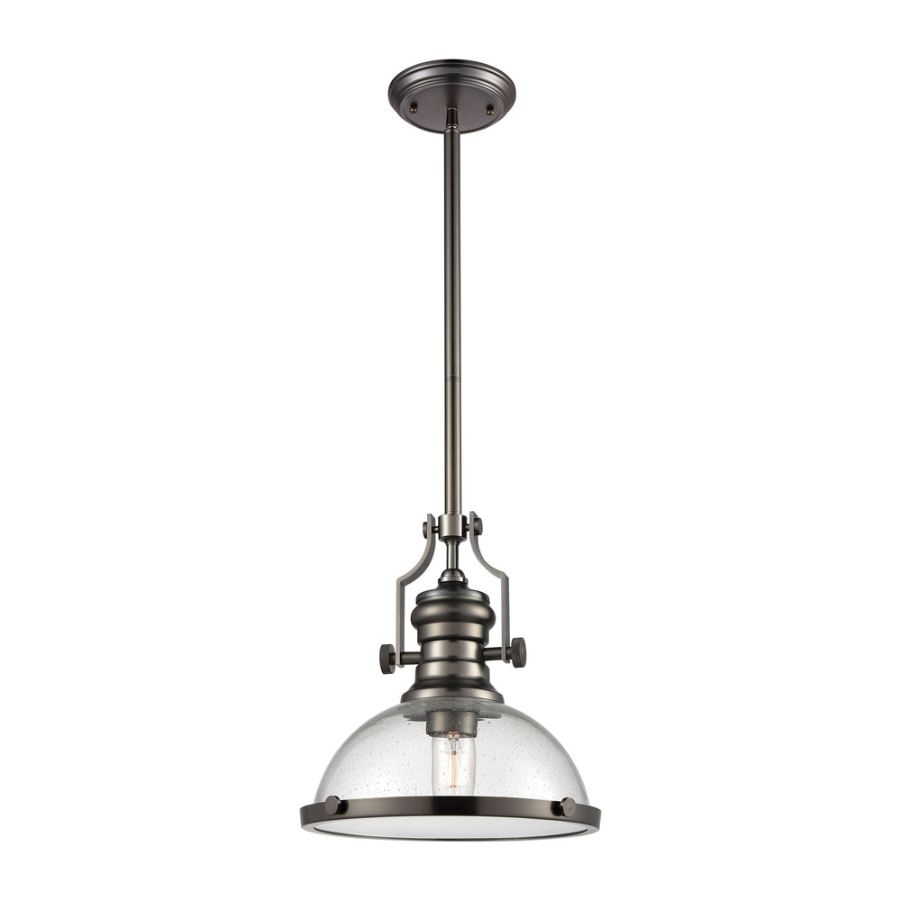 ELK Lighting 67205-1 Chadwick 1 Light Pendant In Black Nickel With Seedy Glass Black Nickel Free Parcel Delivery