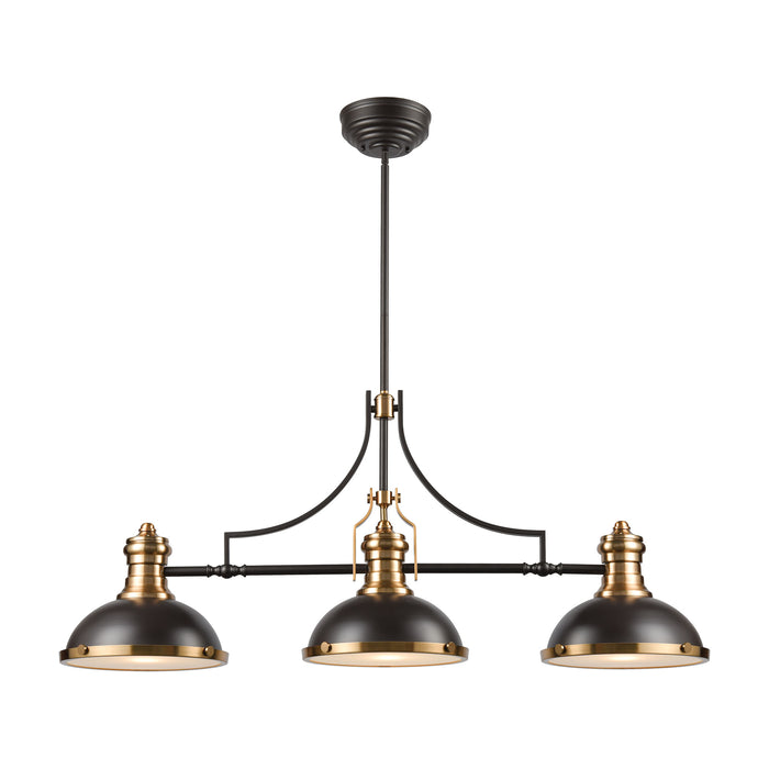 ELK Lighting 67217-3 Chadwick 3 Light Island Light In Oil Rubbed Bronze With Metal And Frosted Glass Oil Rubbed Bronze, Satin Brass Free Parcel Delivery