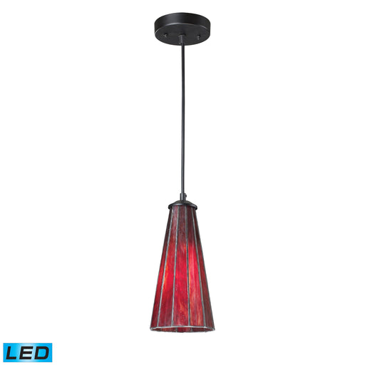 ELK Lighting 70000-1IR-LED Lumino 1 Light Pendant In Inferno Red In Matte Black Finish Inferno Red, Matte Black Free Parcel Delivery