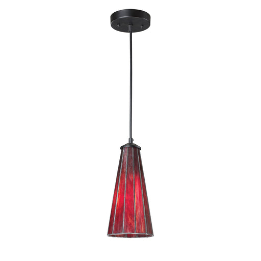 ELK Lighting 70000-1IR Lumino 1 Light Pendant In Inferno Red In Matte Black Finish Inferno Red, Matte Black Free Parcel Delivery