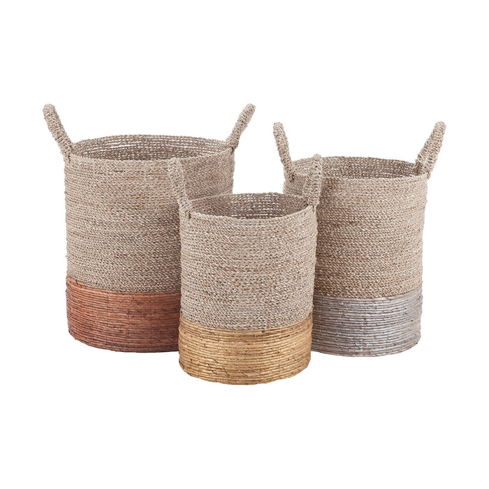 7011-001/S3 Mixed Metallics Nested Baskets Copper, Gold, Natural