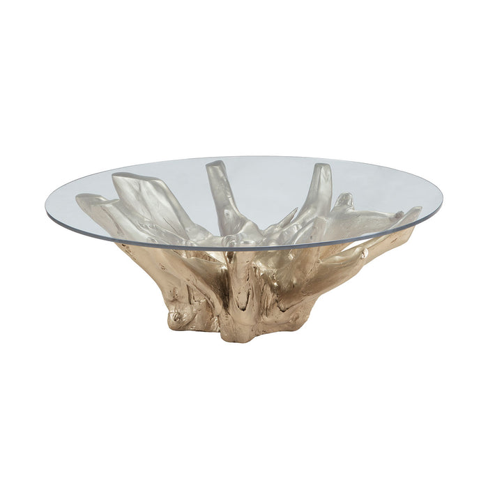 7011-002 Champagne Teak Root Coffee Table Champagne Gold