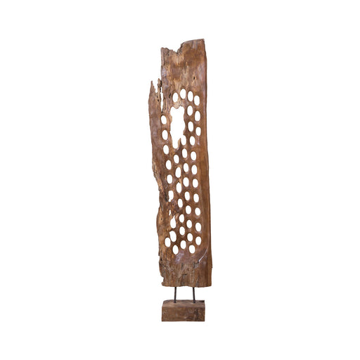 7011-1366 Perforated Teak Screen Sculpture Natural Finish
