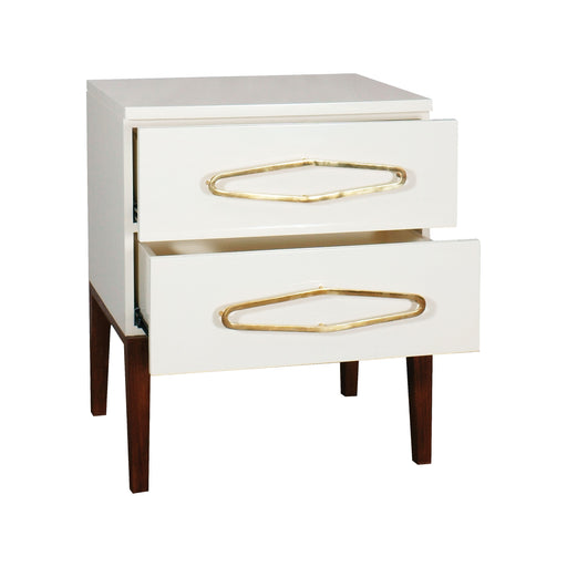 7011-1514 Bang Side Chest White, Polished Brass
