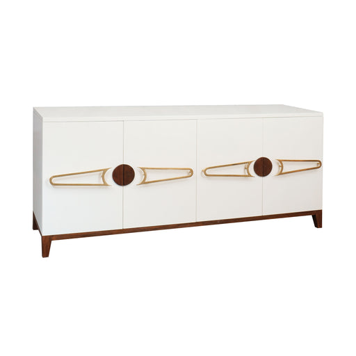 7011-1515 Bang 4-Door Credenza White, Polished Brass