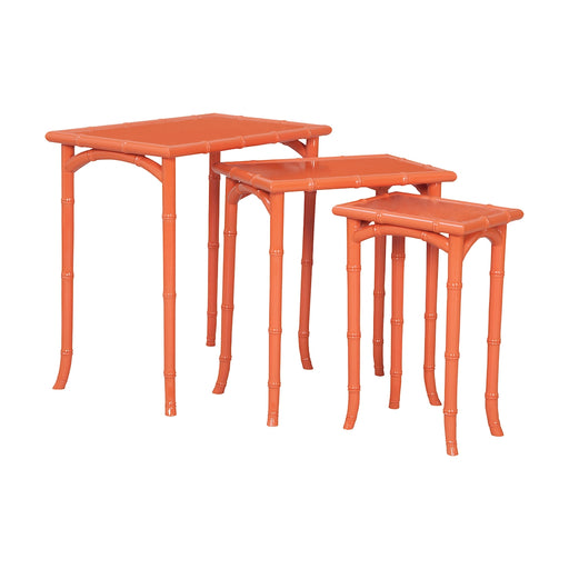 7115540S Loft Bamboo Nesting Tables In Loft Tangerine - Set of 3 Loft Tangerine