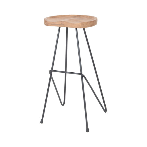 7162-050 Backon Stool Bronze Iron, Natural Teak