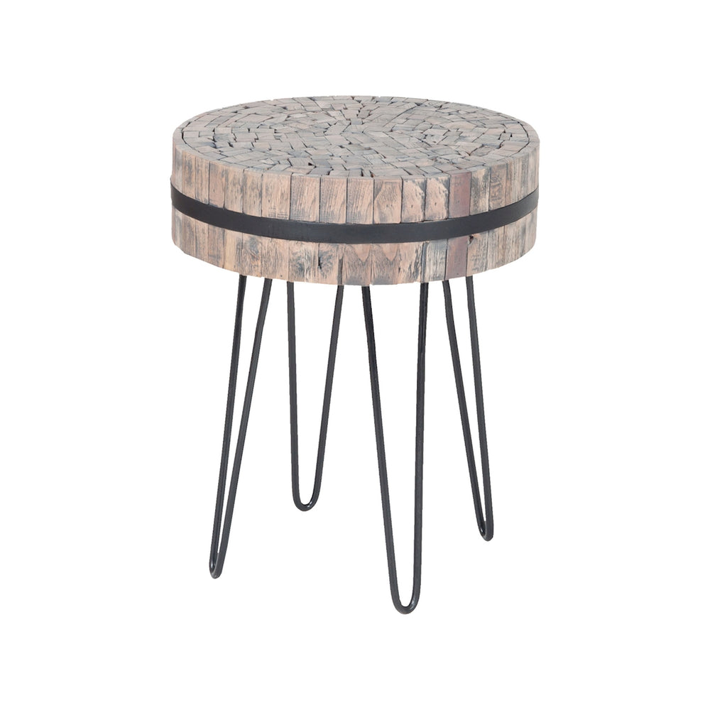 7162-051 Nutela Accent Table Bronze Iron, Natural Wood Tone