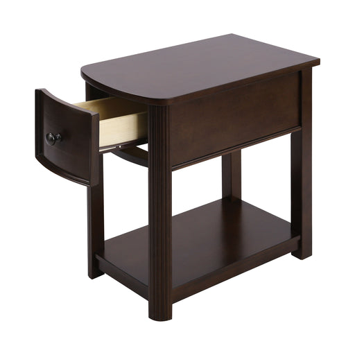 76346 Reaburn Accent Table Dark Cherry, Bronze Hardware