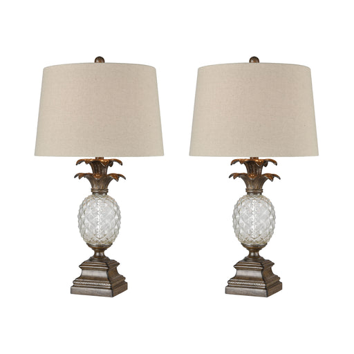 77079/S2 Mauna Loa Table Lamp Aged Oak, Clear
