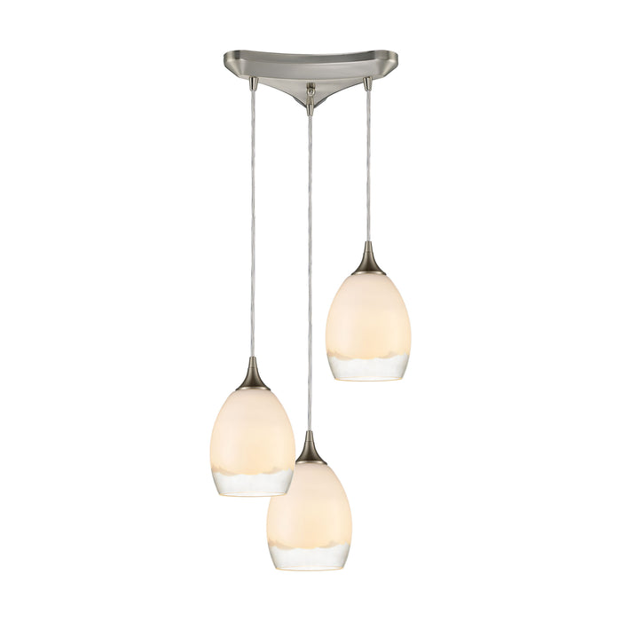 ELK Lighting 85214/3 Cirrus 3 Light Pendant In Satin Nickel With Opal White And Clear Glass Satin Nickel Free Parcel Delivery