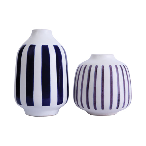 857-215/S2 Giglio Earthenware Vase White Leather, Cobalt
