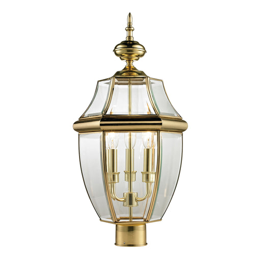 Thomas Lighting 8603EP/85 Ashford 3 Light Post Mount Lantern In Antique Brass - Large Antique Brass