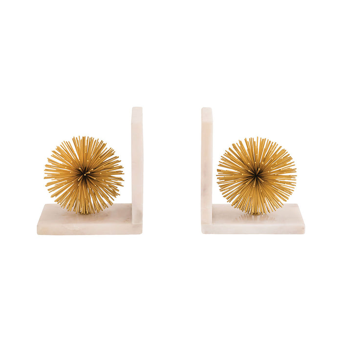 8903-085 Pom Set Of 2 Bookends Gold, White