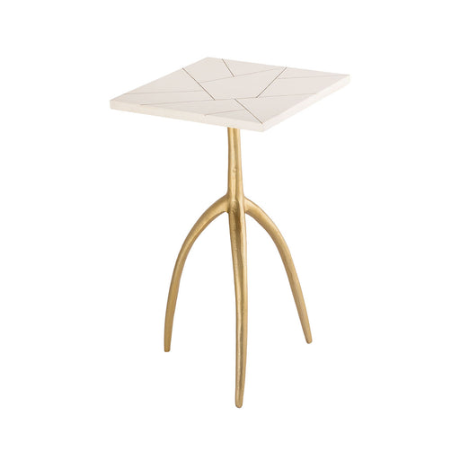 8903-086 Houblon Accent Table Gold, White
