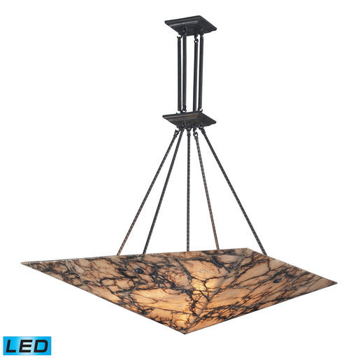 ELK Lighting 9010/9-LED 9 Light Pendant In Antique Brass And Veined Stone Antique Brass Free Threshold Delivery