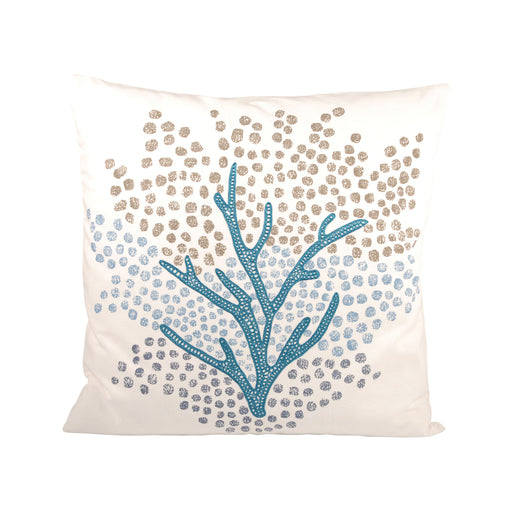 904158 Seascape 20 X 20 Pillow Cool Waters, Crema