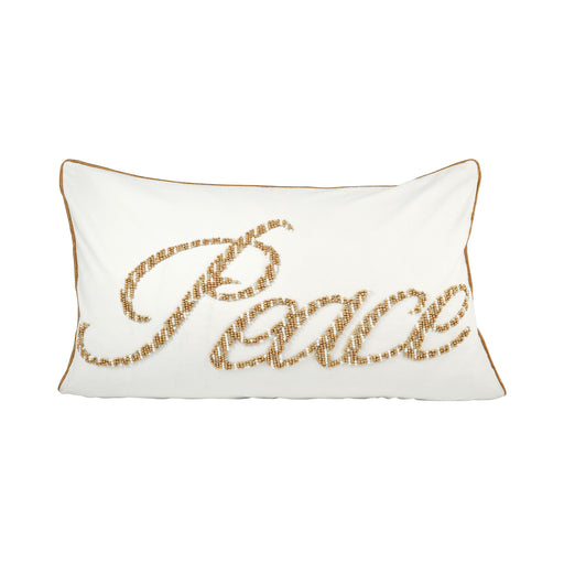 904516 Peace 16 X 26 Lumbar Pillow Crema, Gold, Silver