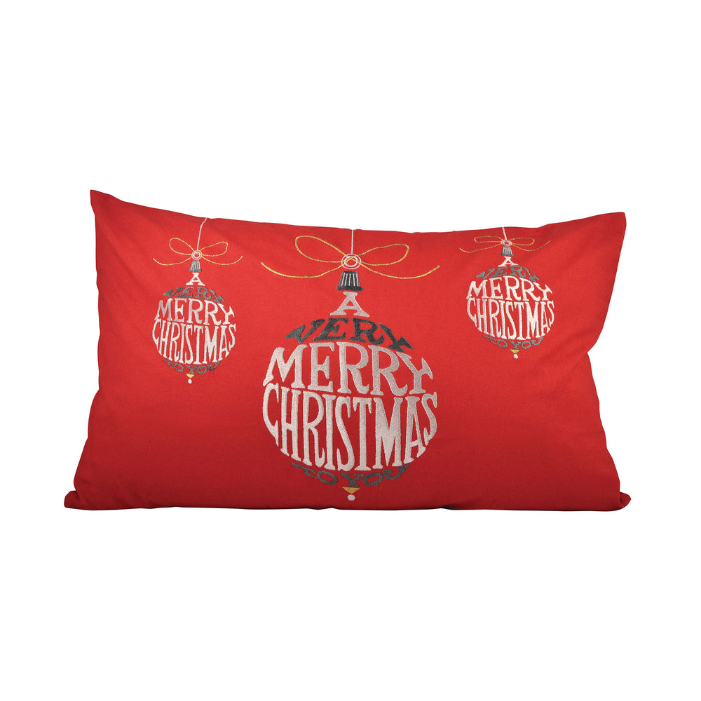 905070 Very Merry Christmas 16 X 26 Lumbar Pillow - Cover Only Red