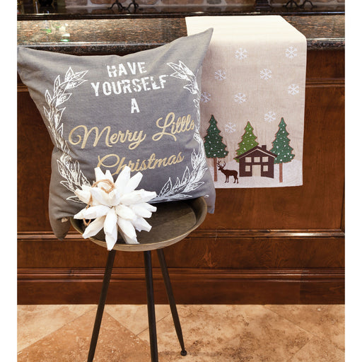 906237 Merry Lil Christmas 24 X 24 Pillow Chateau Grey, Gold, White