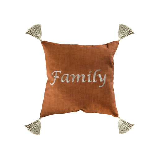 907418 Family 20 X 20 Pillow Dark Toffee, Grey