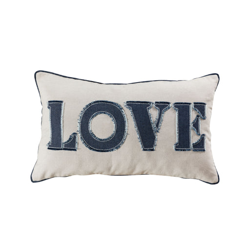 907692-P Love 20 X 12 Pillow - Cover Only Denim, White