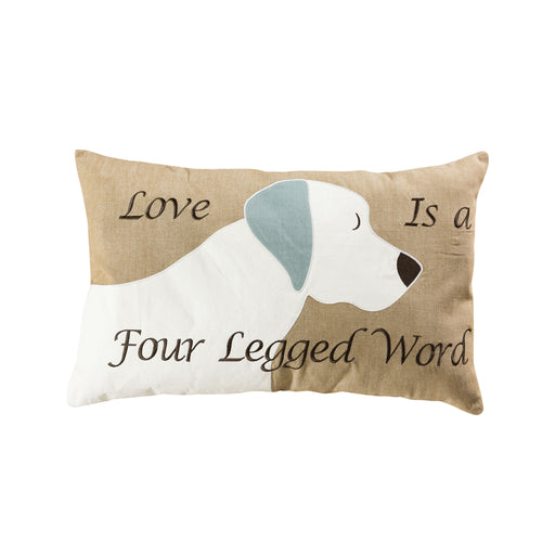 907791-P Dog Love 16 X 26 Lumbar Pillow - Cover Only Tan, White, Grey