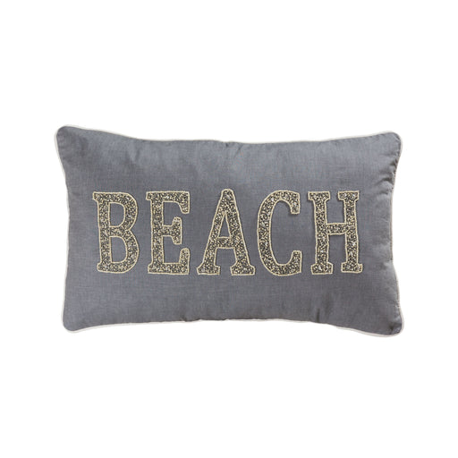 907814-P Beach 16 X 26 Lumbar Pillow - Cover Only Grey, Crema