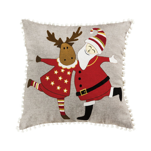 908149 Celebration On Ice 20 X 20 Pillow Chateau Grey, Red