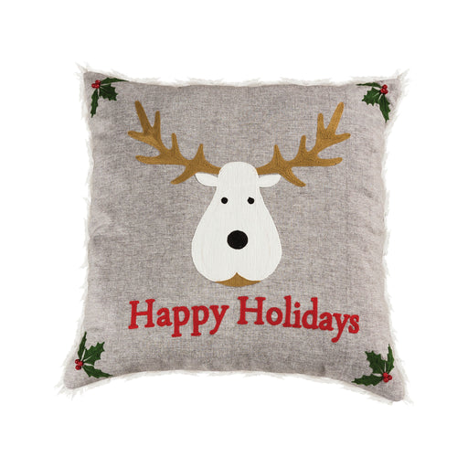908156 Happy Holidays 20 X 20 Pillow Chateau Grey, Red, Snow