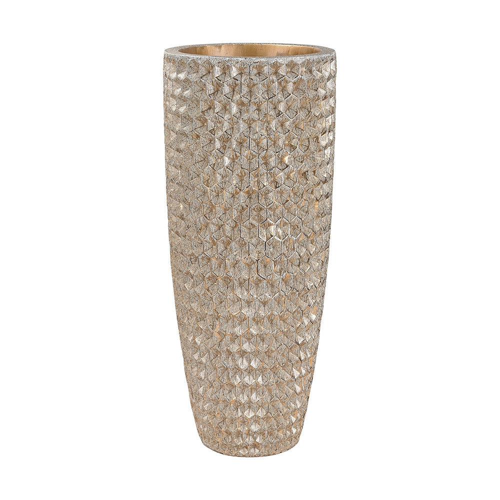 9166-025 Geometric Textured Vase Gold