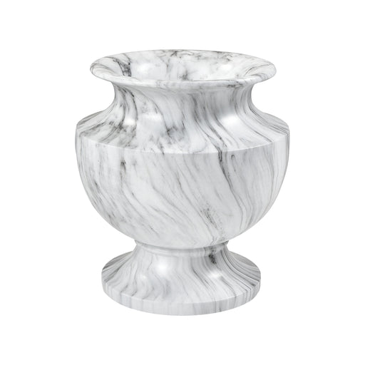 9166-100 Via Appia Small Marbling Planter White Marble