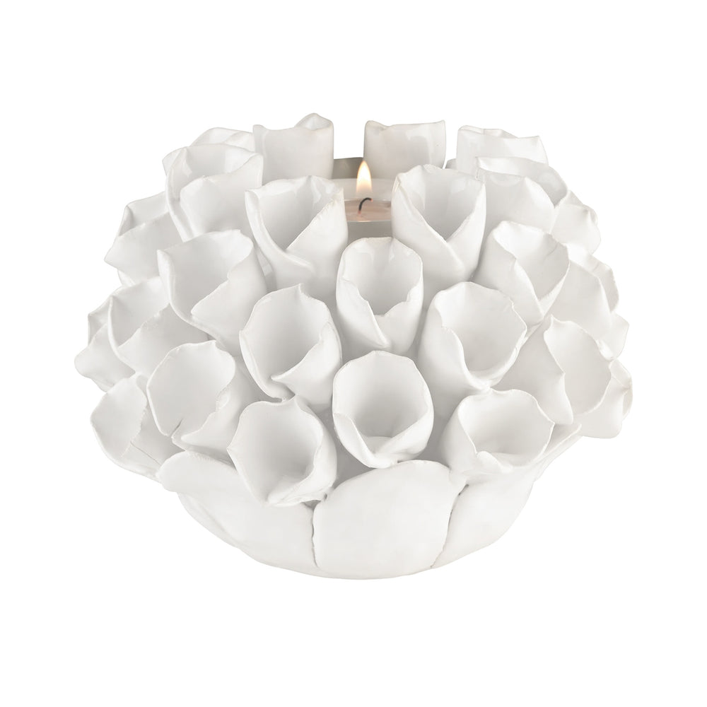 9167-040 White Ceramic Bud Candle Holder White Glaze