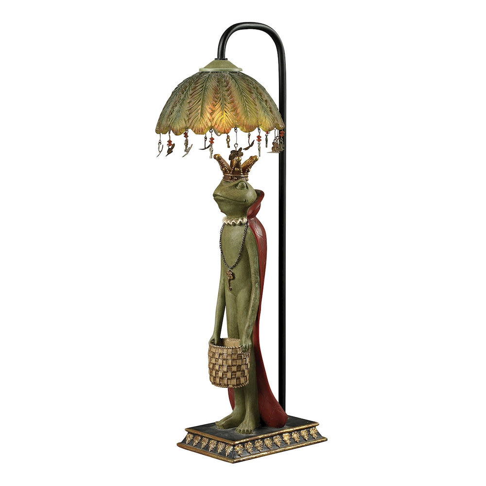 93-19334 King Frog With Basket Accent Lamp Filey Green