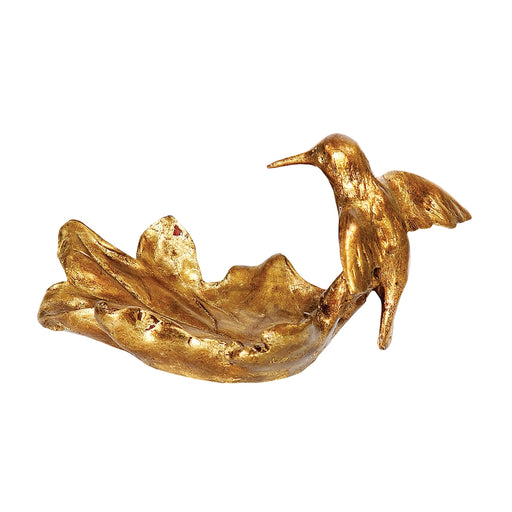 93-3046 Hummingbird Dish Gold Leaf