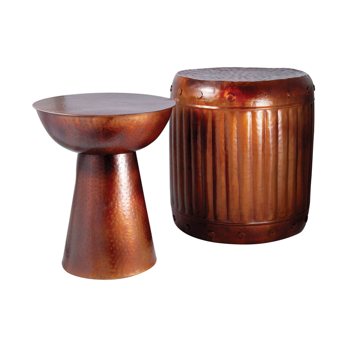 951626 Truffle Set of 2 Table And Barrel Stool French Antique Copper